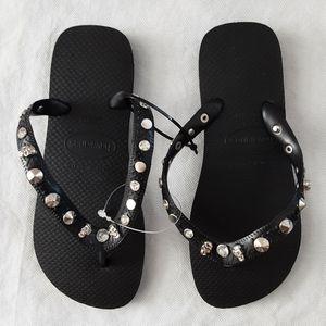 Havaianas Black Silver Studded Size 35-36